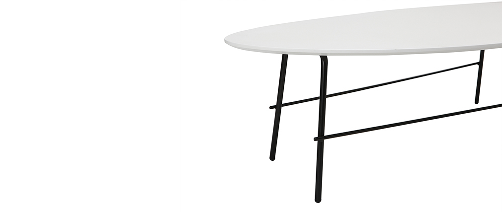 Table basse design métal blanc 131 cm BLOOM