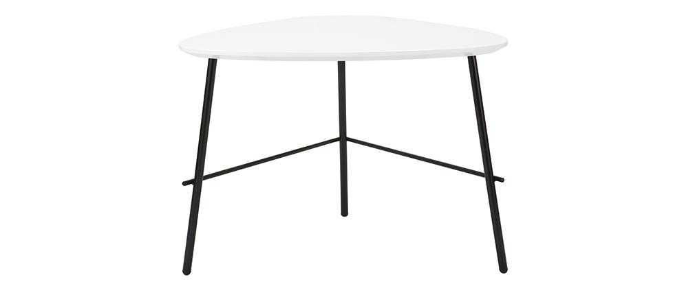 Table basse design métal blanc 60cm BLOOM