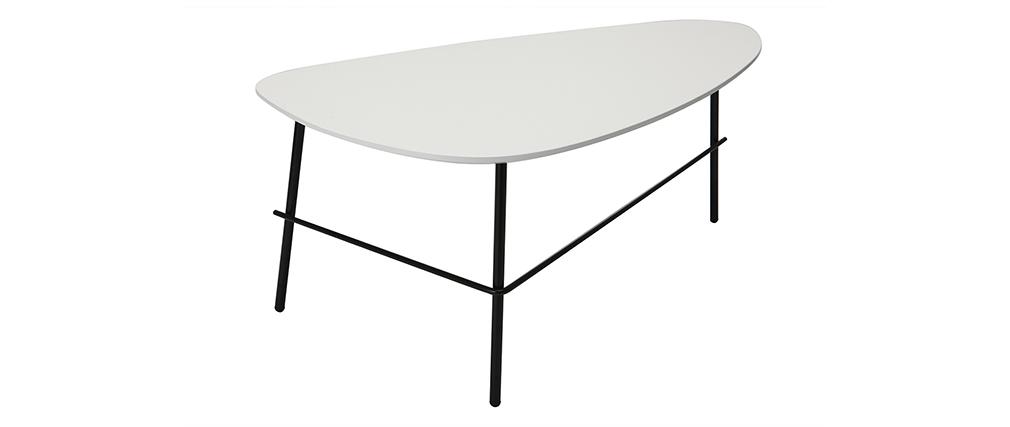 Table basse design métal blanc 93 cm BLOOM