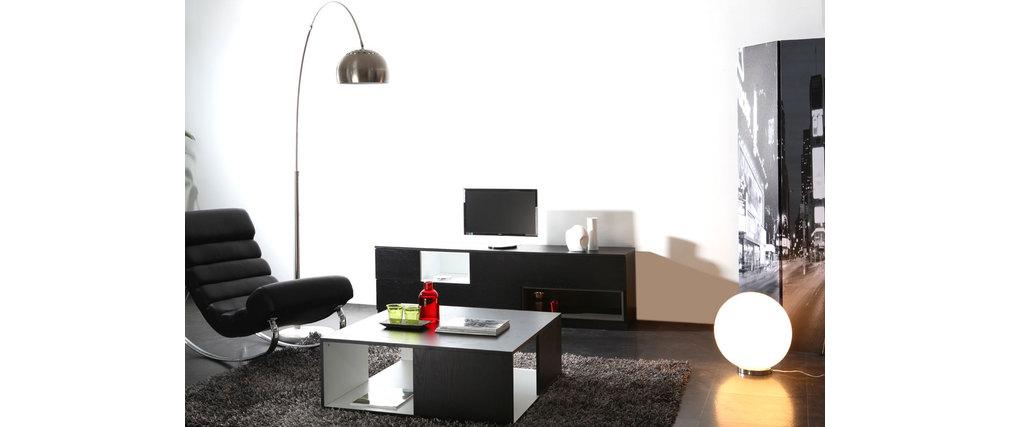 Table basse design noire et blanche cubik miliboo for Table basse noir et blanche
