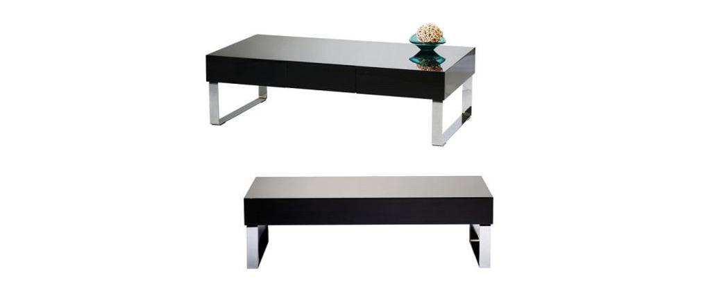 Table basse design noire laqu e neo miliboo - Table basse noire design ...