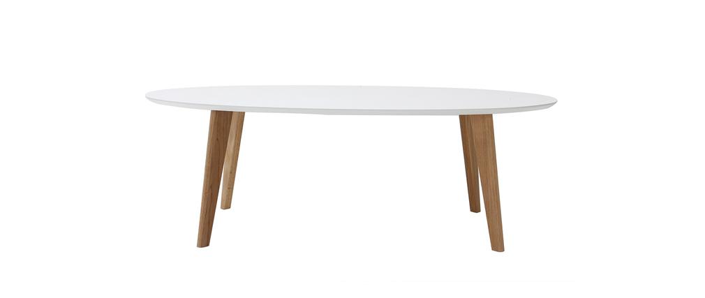 Table basse design ovale 120 cm blanc EKKA