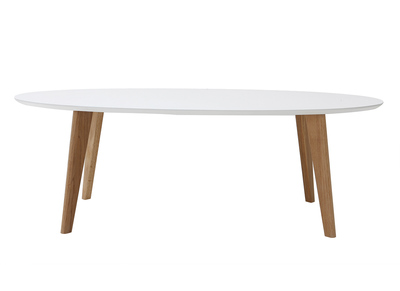Table basse design ovale 120cm blanc EKKA