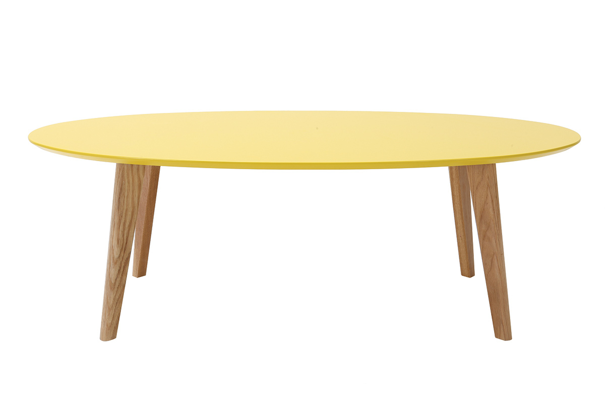 Table basse design ovale 120cm jaune ekka miliboo - Table basse ovale design ...