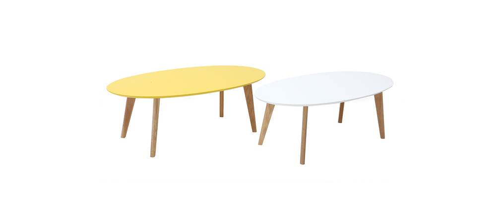 Table basse design ovale 120cm jaune ekka miliboo - Table basse soldes design ...