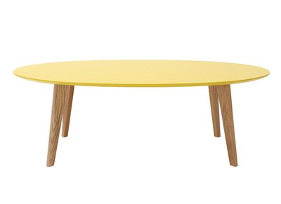 Table basse design ovale 120cm jaune EKKA