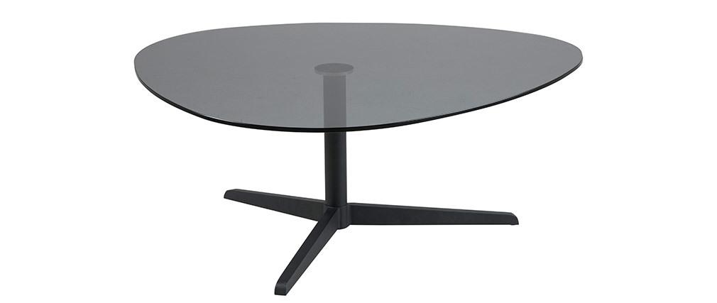 Table basse design ovale noire en verre fumé et métal GALET