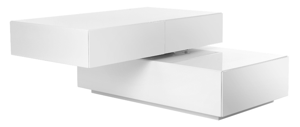 Table basse design pivotante 4 tiroirs blanc ELEA