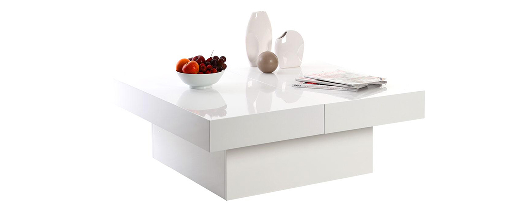 Table basse design plateaux ouvrants laqu blanc laureen miliboo - Table basse soldes design ...