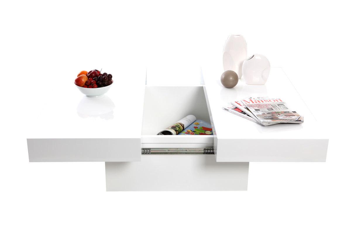 Table basse design plateaux ouvrants laqué blanc LAUREEN