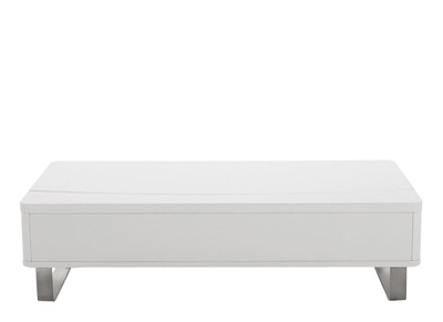 Table basse design relevable blanc brillant JUNO