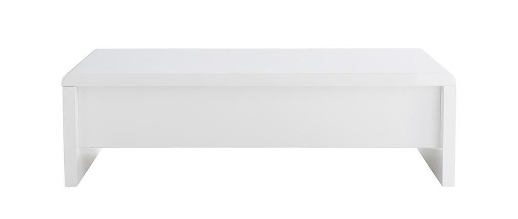 Table basse design relevable blanche avec rangement LOLA
