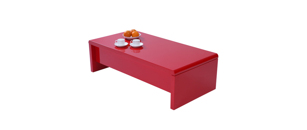 Table basse design relevable laquée rouge LOLA
