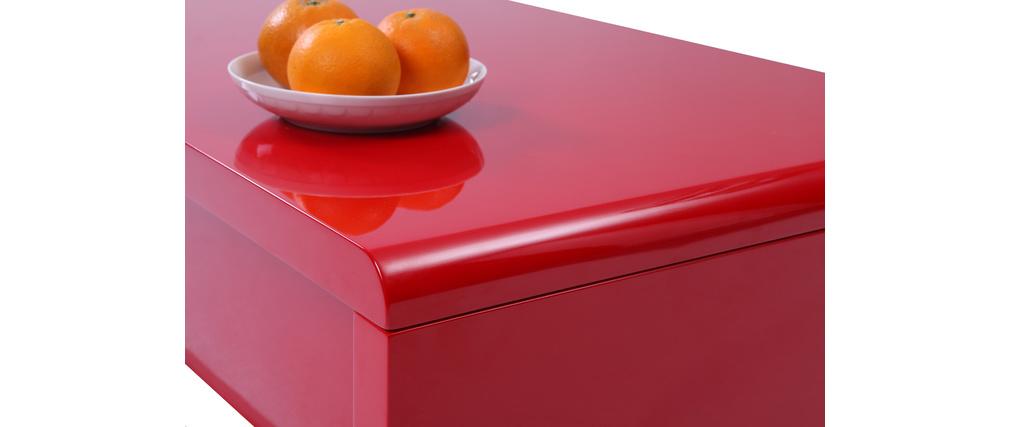 Table basse design relevable laqu�e rouge LOLA