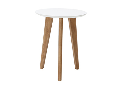 Table basse design ronde 40cm blanc BELAK
