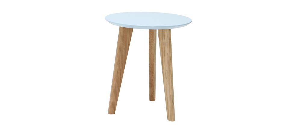 Table basse design ronde 40cm bleu pastel BELAK