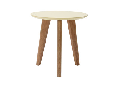 Table basse design ronde 40cm jaune pastel BELAK