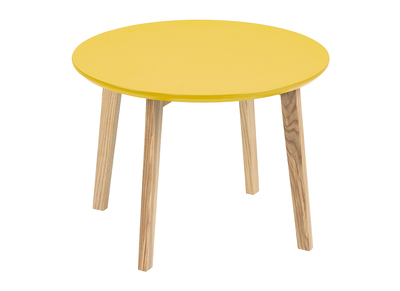 Table basse design ronde 50cm jaune curry mat SARA