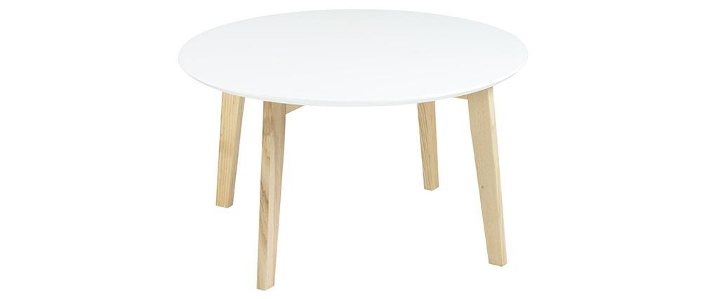 table basse design ronde 80 cm blanc mat sara miliboo. Black Bedroom Furniture Sets. Home Design Ideas