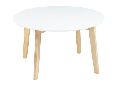 Table basse design ronde 80cm blanc mat  SARA