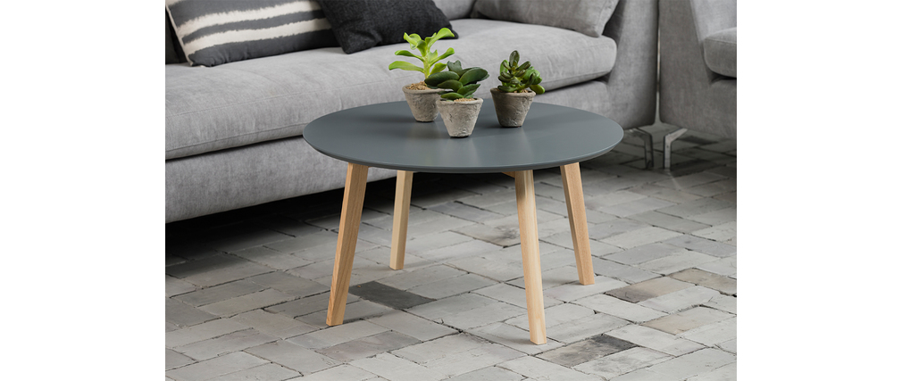 Table basse design ronde 80cm gris mat sara miliboo for Table basse design 80 cm