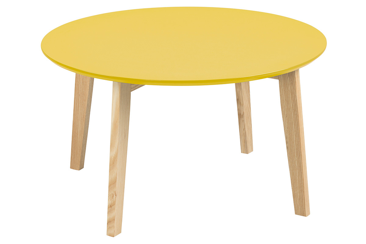 Table basse ronde jaune for Table basse design 80 cm