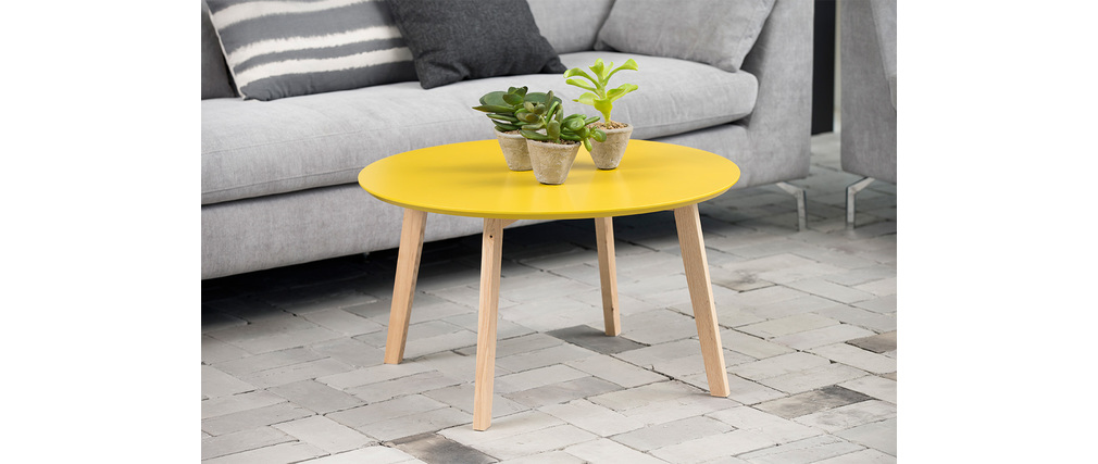 Table basse design ronde 80cm jaune curry sara miliboo for Table basse design 80 cm