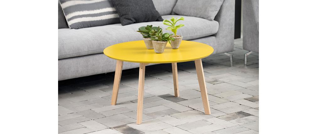 table basse design ronde 80cm jaune curry sara miliboo. Black Bedroom Furniture Sets. Home Design Ideas