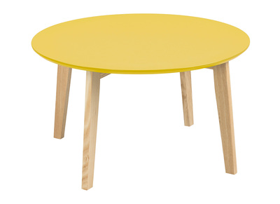 Table basse design ronde 80cm jaune curry SARA