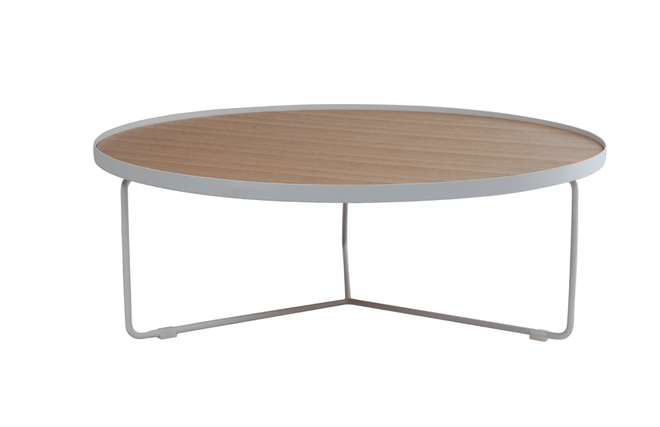 Table basse design ronde bois naturel et m tal blanc 100cm for Table ronde bois et metal