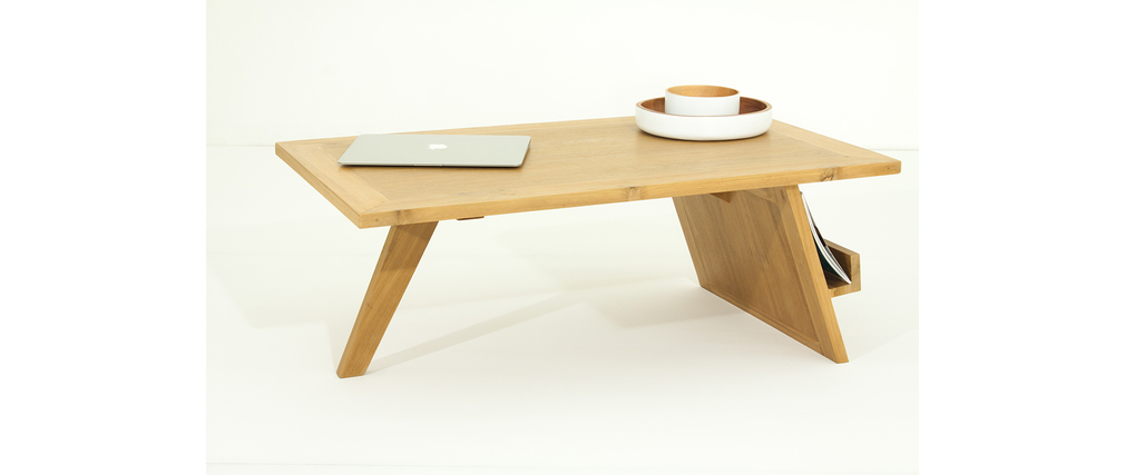 Table basse design bois naturel teck lounge for Table basse teck massif