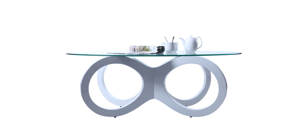 Table basse design verre blanche BUTTERFLY