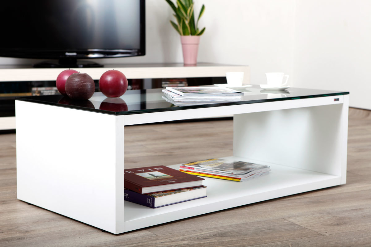 Table basse design verre blanche et noire symbiosis miliboo - Table basse blanche verre ...