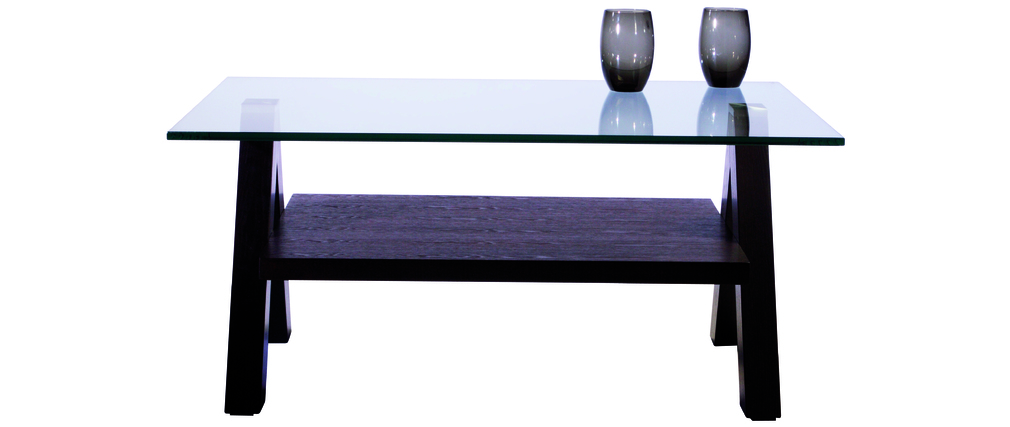 Table basse design weng et pleateau en verre tremp carr e new bailey miliboo - Table basse carree wenge ...