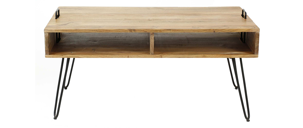 Table basse en acacia massif et métal noir ALVIN