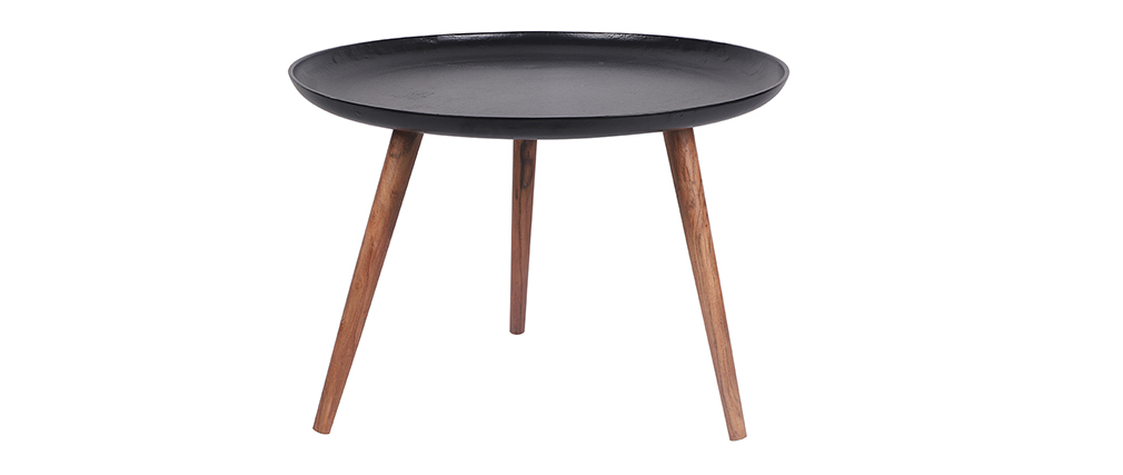 Table basse en aluminium noir et manguier D75 cm LUMI