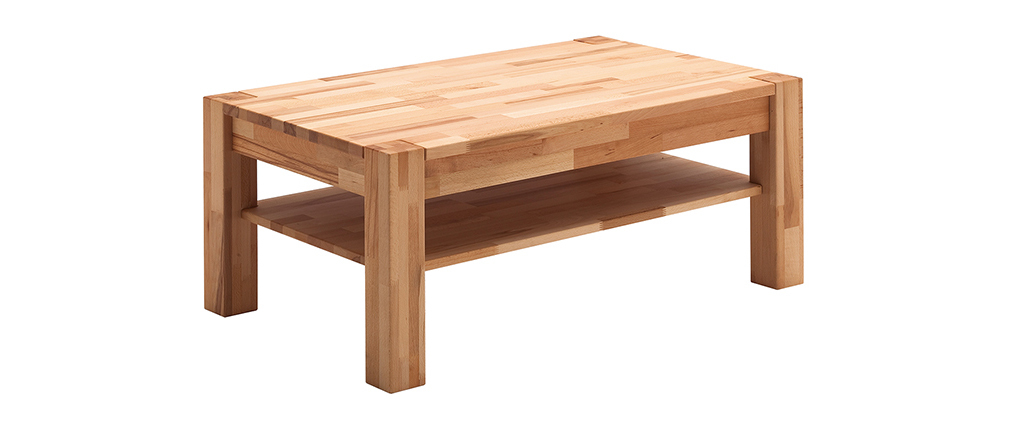 Table basse en hêtre massif avec rangement L105 cm CODY