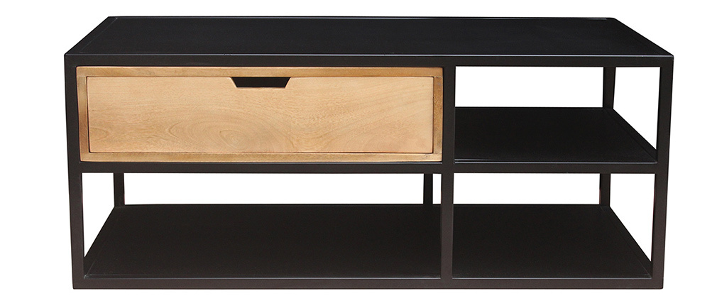 Table basse en manguier et métal noir JAIPUR - Miliboo & Stéphane Plaza