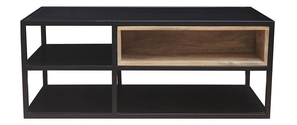 Table basse en manguier massif et métal noir JAIPUR - Miliboo & Stéphane Plaza