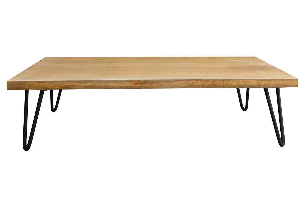 Table basse en manguier massif et métal VIBES Miliboo