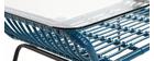 Table basse en verre et fils de résine bleu canard TANGO