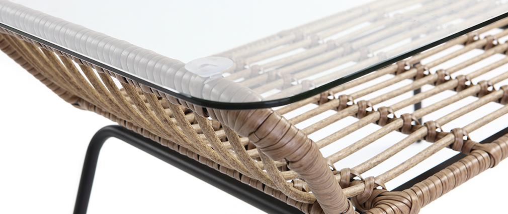 Table basse en verre et fils de résine façon rotin TANGO