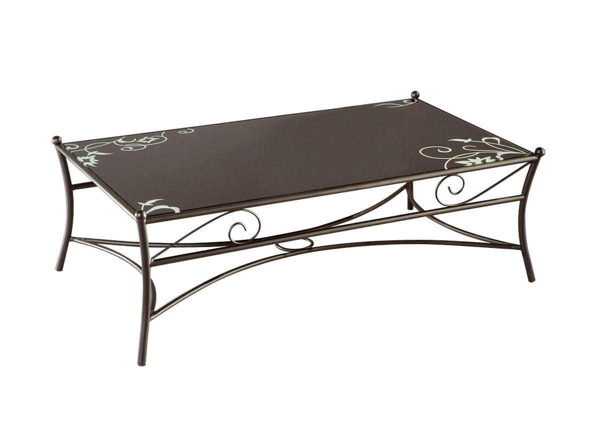 Table Basse En Verre Noir Et Acier Florence Miliboo