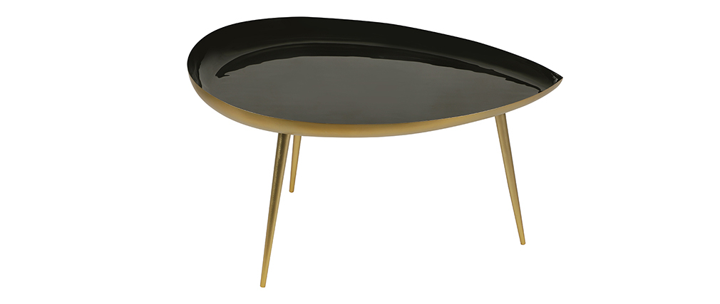 Table basse goutte en acier laqué noir L80 cm DROP