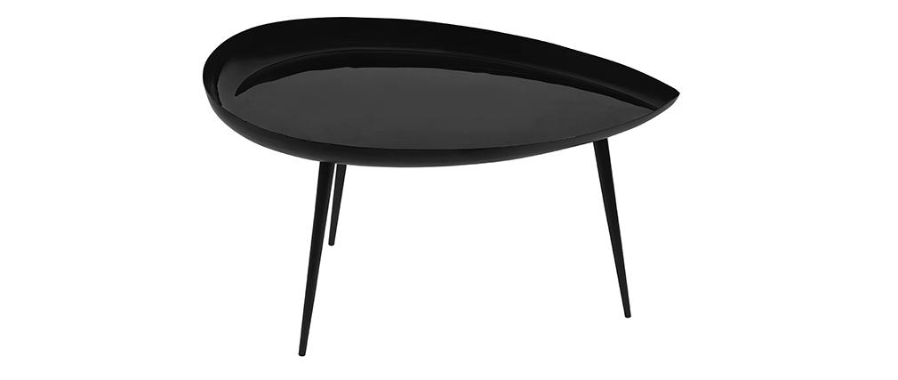 Table basse goutte laquée en acier noir L80 cm DROP