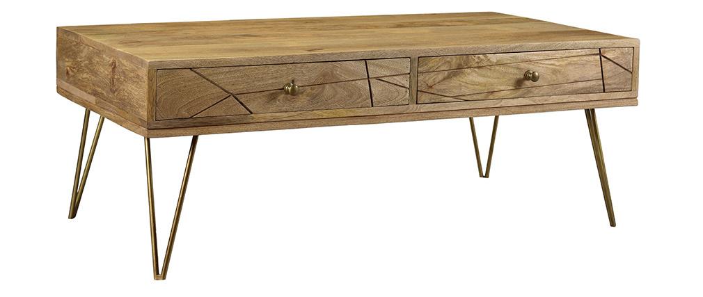 Table basse gravée en manguier et métal doré LINIUM