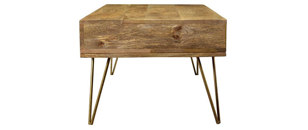 Table basse gravée en manguier massif et métal doré LINIUM