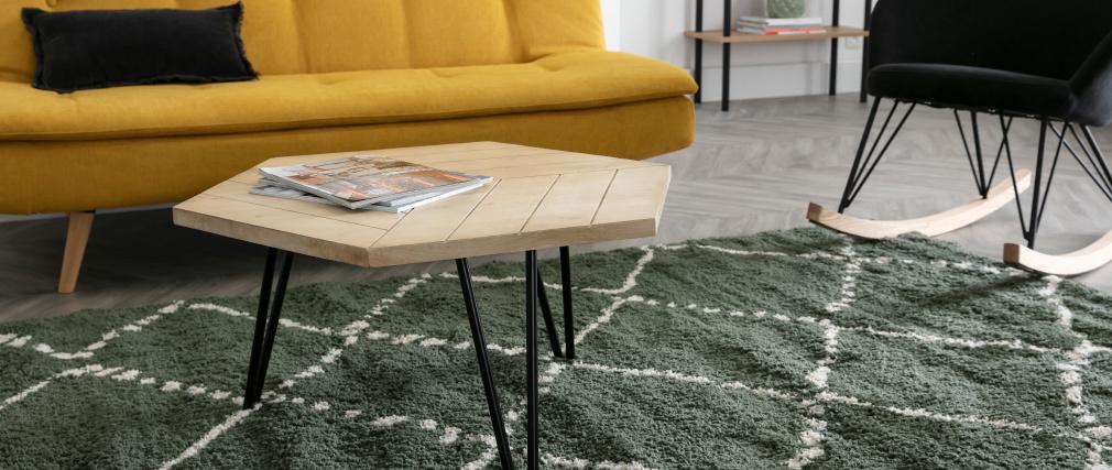 Table basse hexagonale gravée en manguier massif et métal noir VIBES
