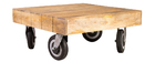 Table basse industrielle à roulettes en manguier massif L80 cm ATELIER