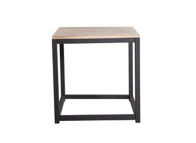 Table Basse Industrielle Bois Metal Carree Factory